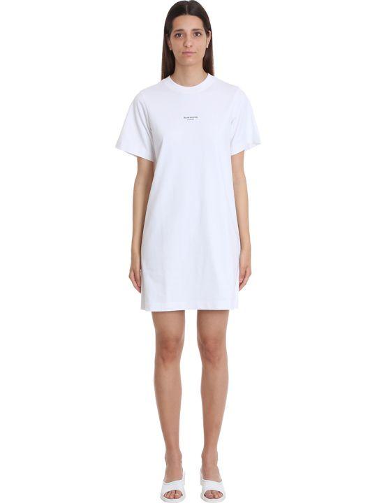 Acne Studios Elleni Stamp Dress In White Cotton