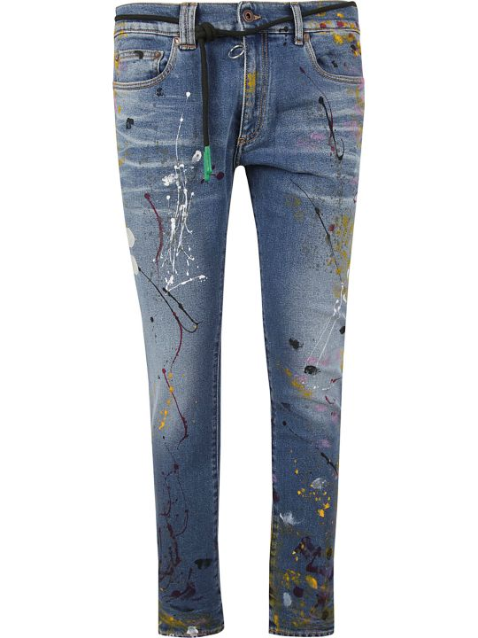 Off-White Off White Paint Splattered Skinny Jeans