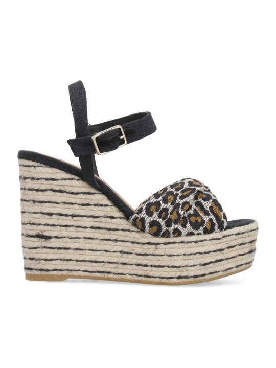 Castañer Jeanne Canvas Wedges With Crossed Bands