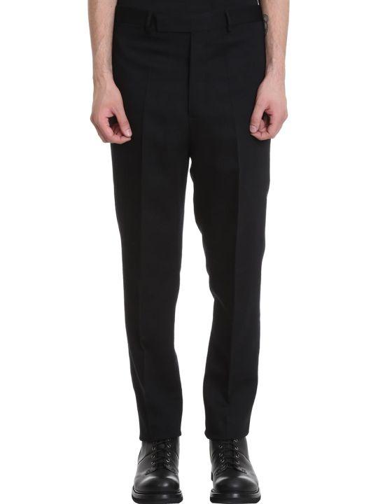 Rick Owens Slim Long Astai Pants In Black Wool
