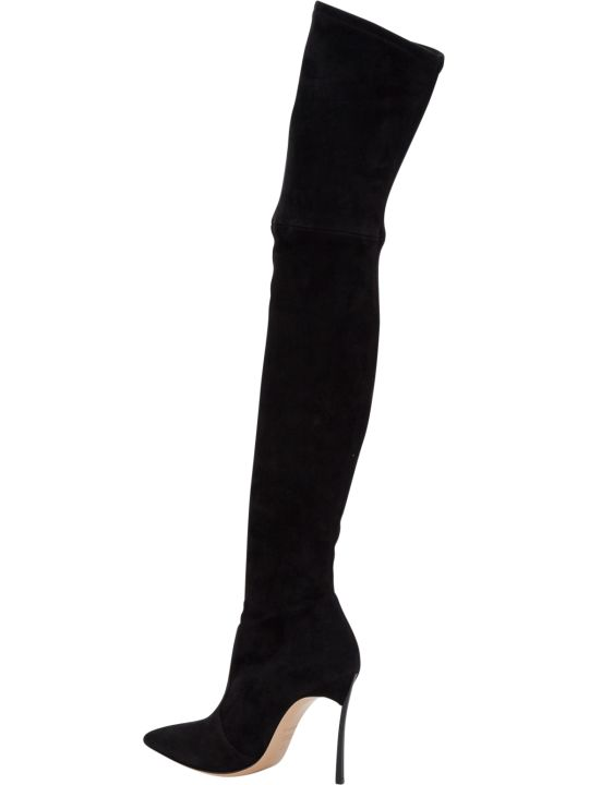 Casadei Over-the-knee Suede Boots With Blade Heel