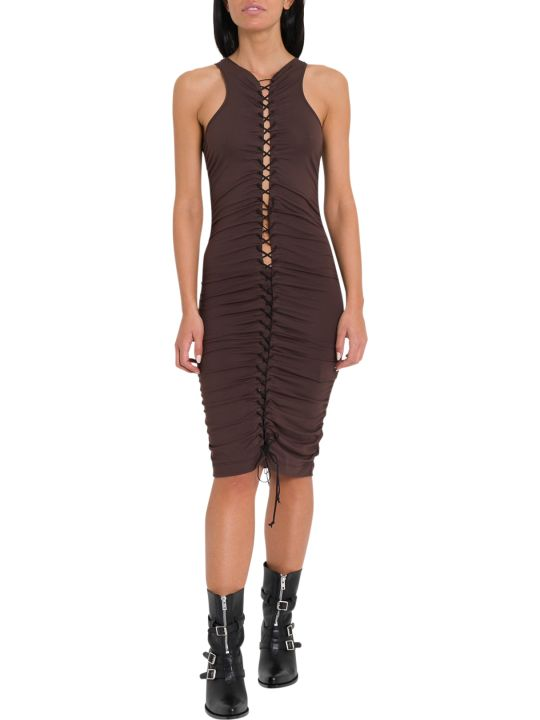 Ben Taverniti Unravel Project Gathered Lace-up Midi Dress