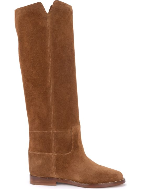 Via Roma 15 Boot In Brown Suede With Star.
