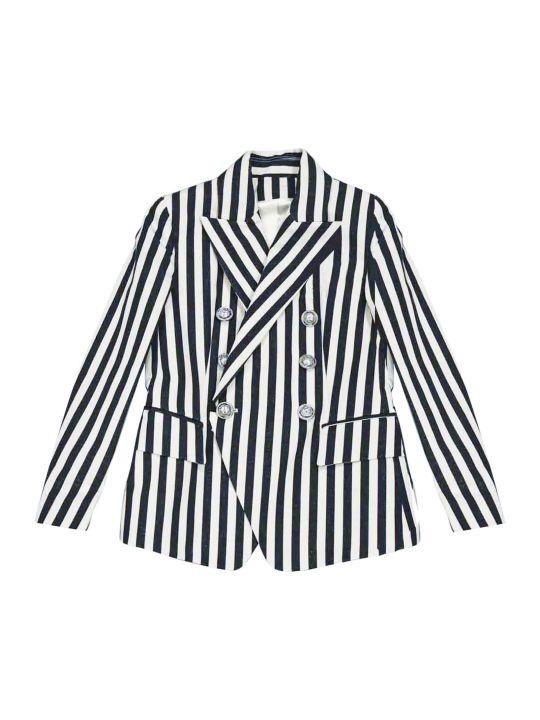 Balmain White And Blue Stripes Teen Blazer