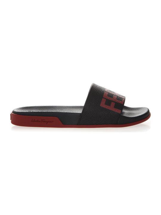 Salvatore Ferragamo Black & Red Rubber Logo Slider