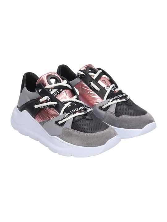 Leather Crown Sneakers In Grey Tech/synthetic