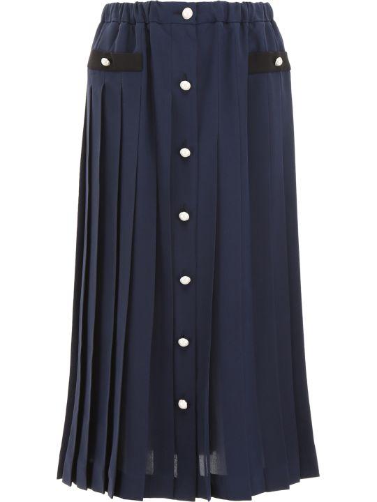 Miu Miu Pleated Silk Skirt