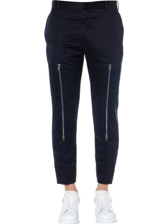 Alexander McQueen Navy Twill Cotton Zipped Trousers