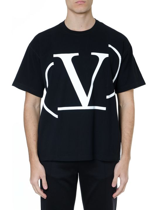 Valentino Blac Cotton T-shirt With White V Logo