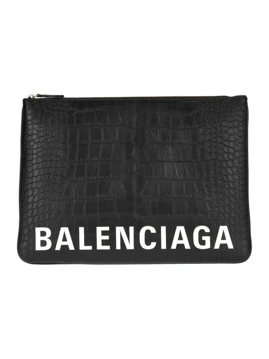 Balenciaga Large Ville Pouch With Embossed Crocodile Effect