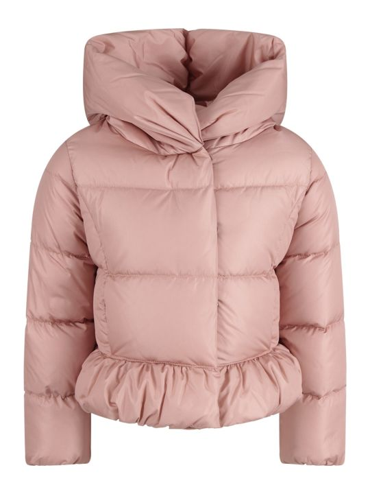 Moncler Pink Girl Jacket With  Iconic Patch