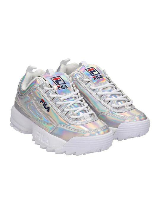 Fila Distruptor Low Sneakers In Silver Leather