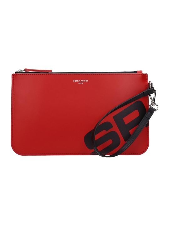 Sonia Rykiel Baltard Zipped Red Leather Pouch