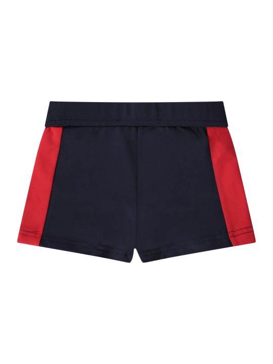 Moncler Blue Babyboy Swim With Iconic Patch