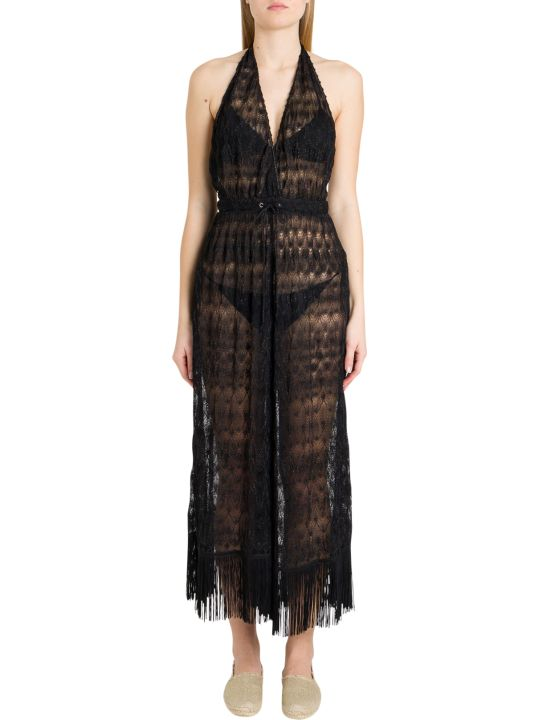 Missoni Knitted One-piece Jumsuit With Fringe