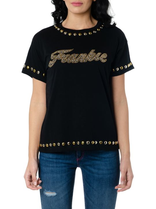 Frankie Morello Black Cotton T Shirt With Studs
