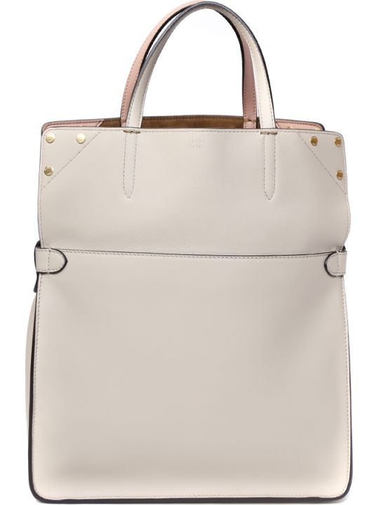 Fendi Large Beige Leather Flip Tote