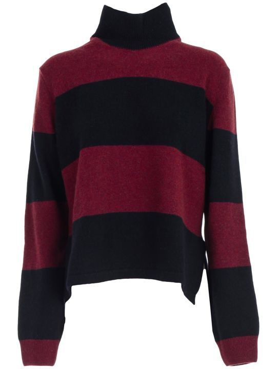PS by Paul Smith Sweater High Neck Bicolor W/stripe