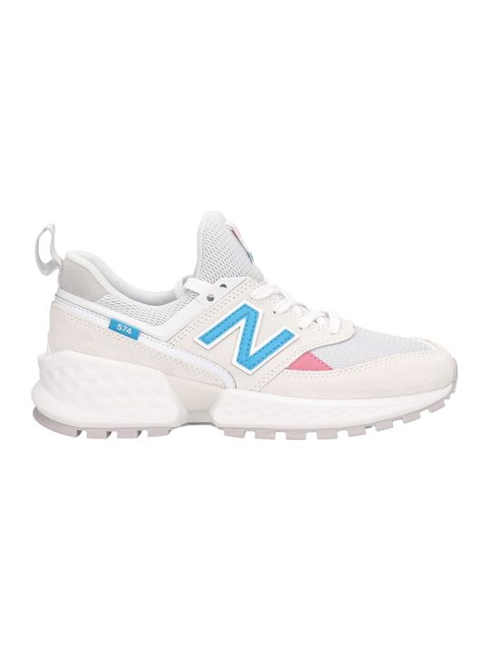 New Balance White Leather 574 Sneakers