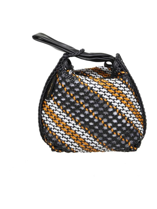3.1 Phillip Lim Phillip Lim Ines Hand Bag In Braided Leather Color Black / White / Orange