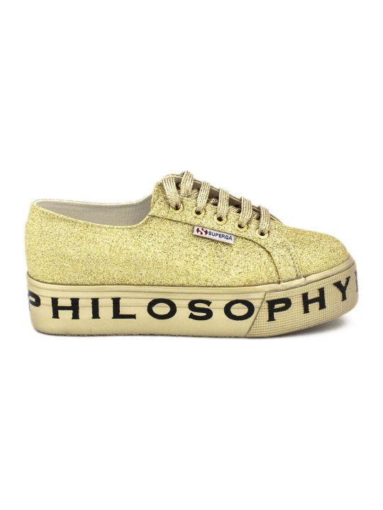 Philosophy di Lorenzo Serafini Superga Sneaker By Philosophy In Gold-tone Glitter.