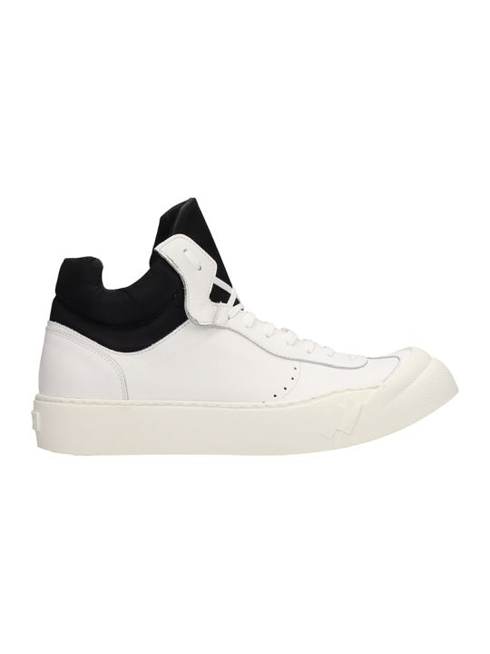 Cinzia Araia White Leather Mid Sneakers