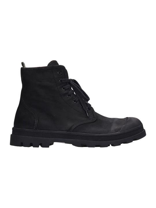 Officine Creative Kasbek Combat Boots In Black Leather