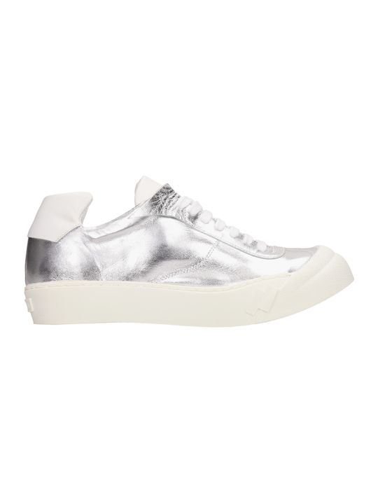 Cinzia Araia Metal Silver Leather Sneakers