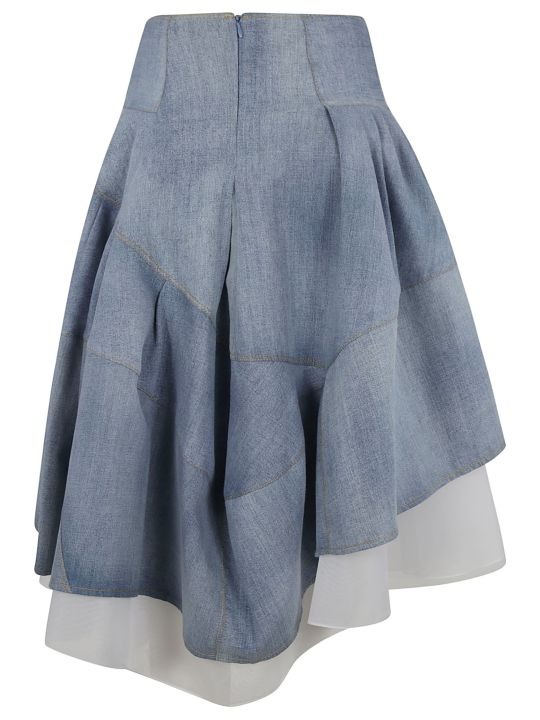 Ermanno Scervino Flared Asymmetric Denim Skirt