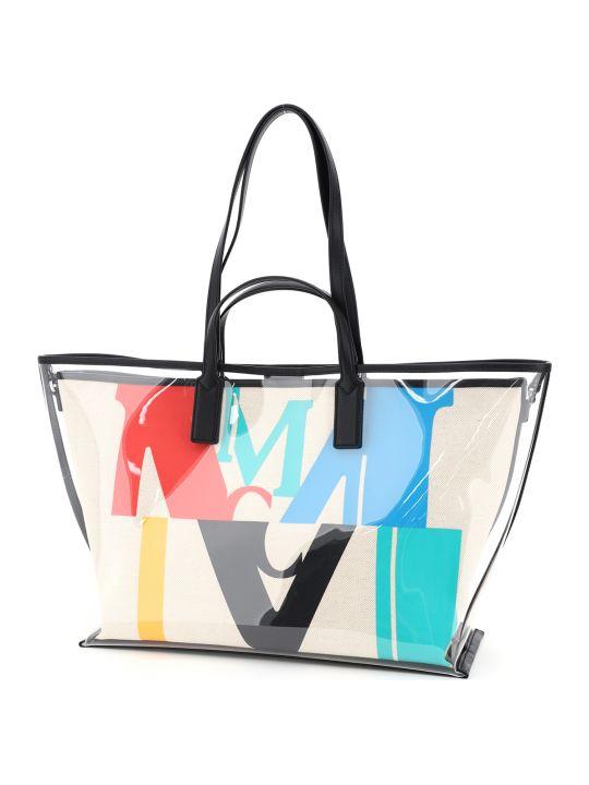 MCM Medium Tpu And Canvas Tote Bag With Logo