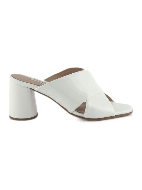 Roberto Festa White Patent Leather Paper Sandals