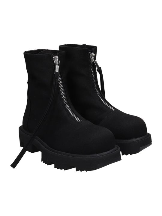 DRKSHDW Zip Megatooth Combat Boots In Black Canvas