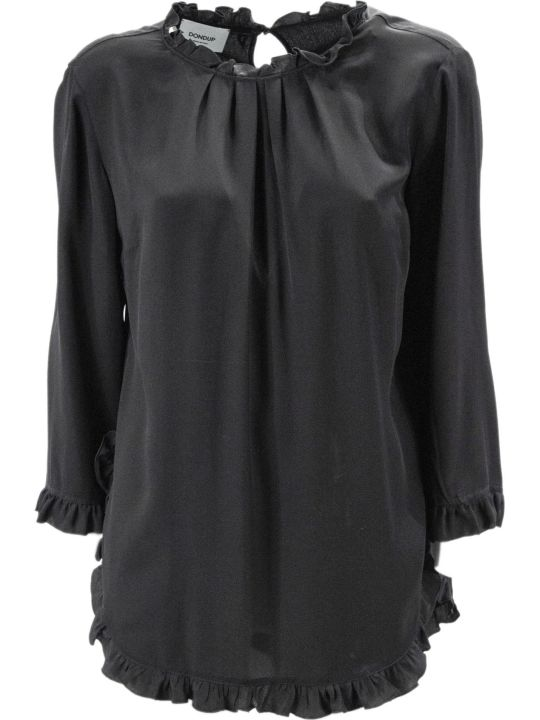Dondup Black Blend Silk Top.