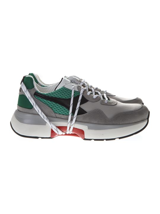 Diadora Heritage Grey & Green Nylon & Suede Sneakers