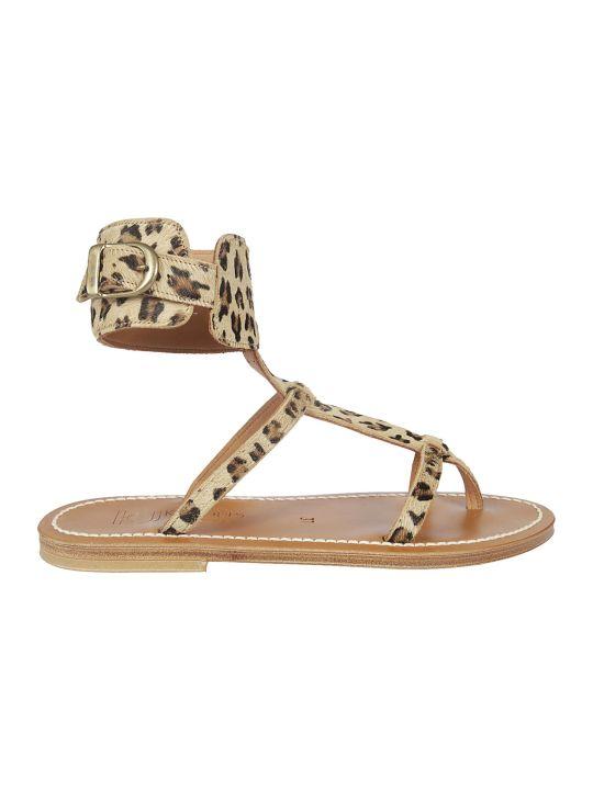 K.Jacques Leopard Print Sandals