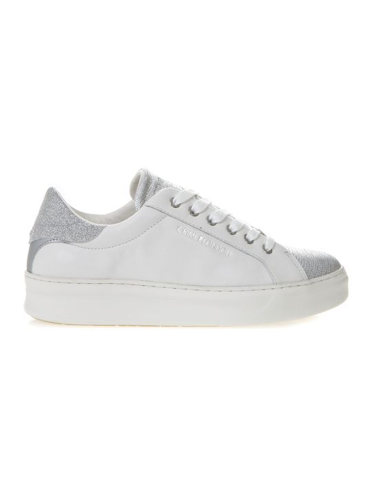 Crime london White Sneakers In Leather With Silver Details