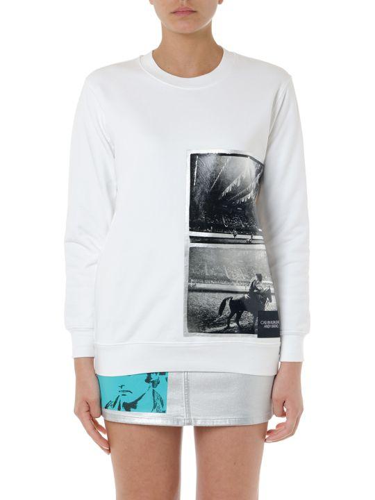 Calvin Klein Jeans White Printed Bland Cotton Sweatshirt