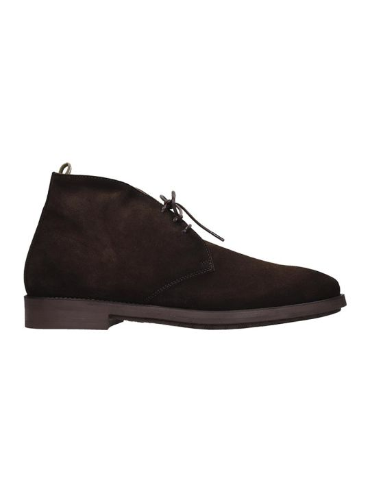 Officine Creative Ergosum Ankle Boots In Brown Suede