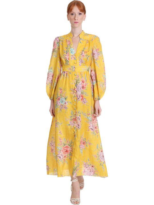 Zimmermann Zinnia Dress In Yellow Cotton And Linen