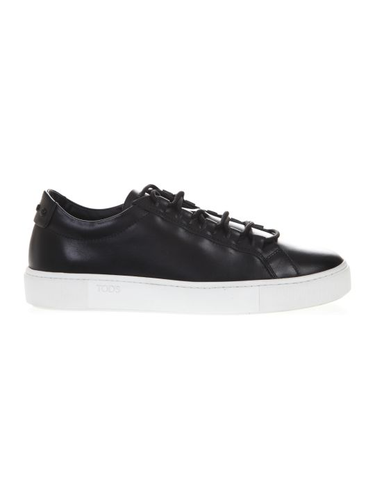 Tod's Black Leather Laced Sneakers