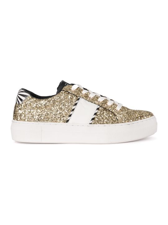 M.O.A. master of arts Moa Black And White Leather Sneaker With Golden Sequins