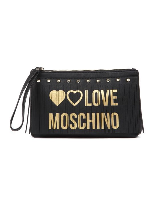 Love Moschino Black Faux Leatehr Studded Clutch