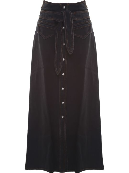 Nanushka Alma Cotton-denim Western Midi Skirt