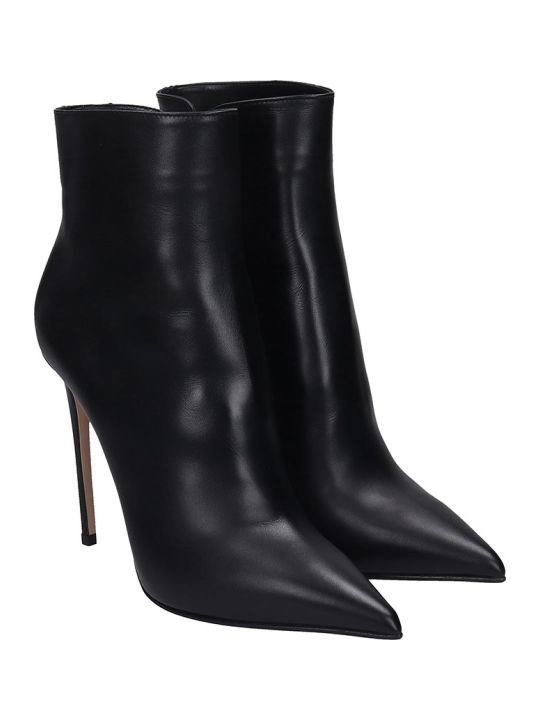 Le Silla High Heels Ankle Boots In Black Leather