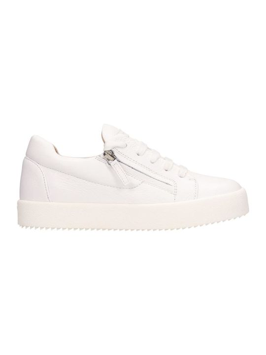 Giuseppe Zanotti White Leather Addy Sneakers