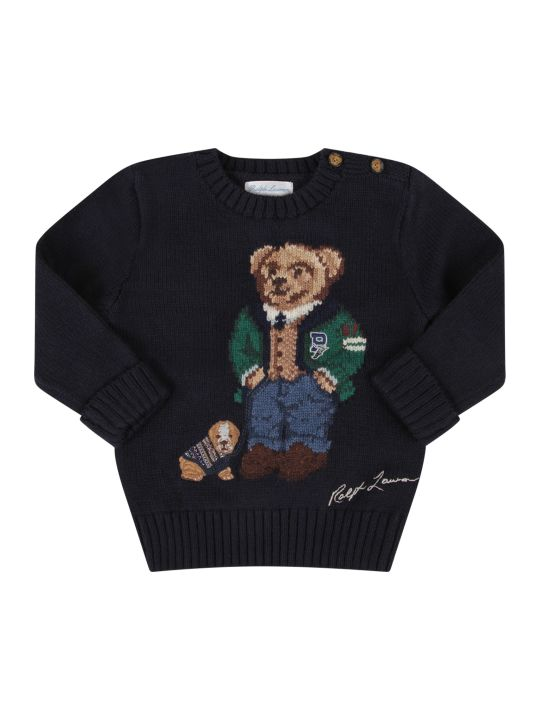 Ralph Lauren Blue Babyboy Sweater With Colorful Bear And Dog