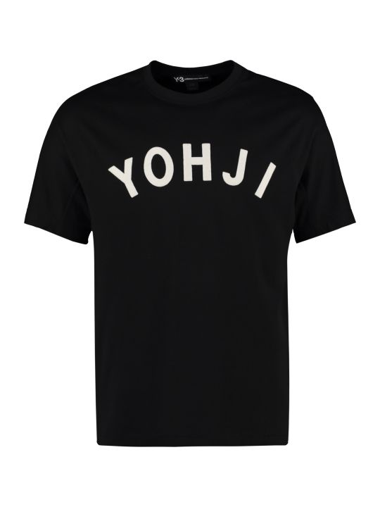 Y-3 Velvet Effect Print Cotton T-shirt