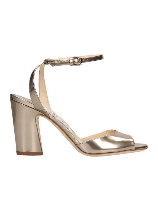 Jimmy Choo Gold Leather Miranda Sandals