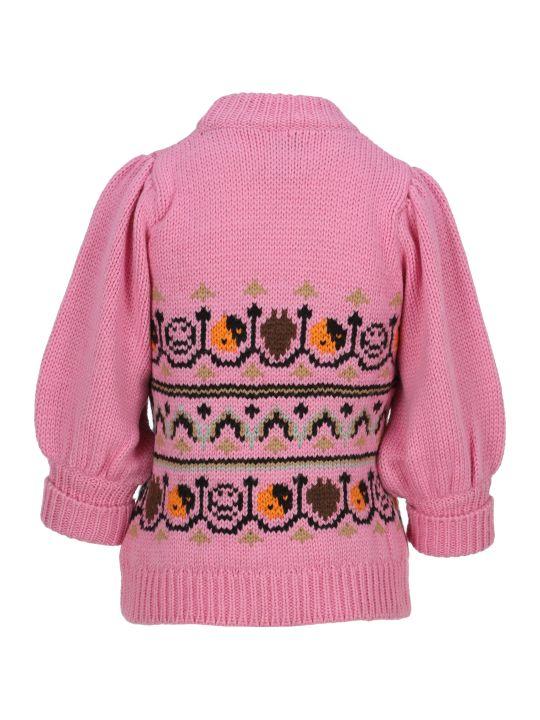 Ganni Hand Knit Wool Puff Sleeves Sweater