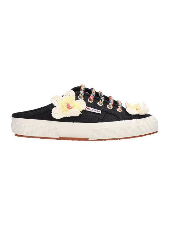 Superga Black Canvas Sabot Flower Sneakers